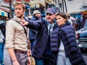 Matt Barr and Sofia Pernas on the set of Blood and Treasure Season 2